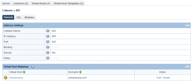 LiteSpeed WebAdmin Console - Listener General Settings