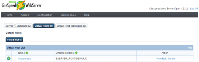 LiteSpeed WebAdmin Console - Virtual Hosts