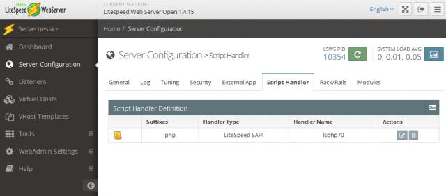 openlitespeed webadmin - server configuration - script handler