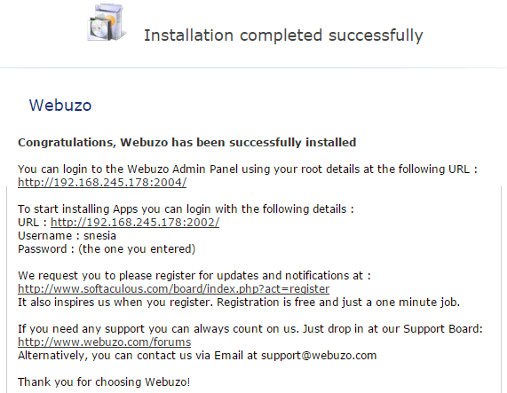 Webuzo Installation completed successfully