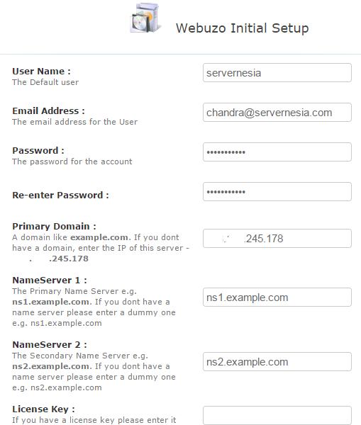 Webuzo Installer Initial Setup
