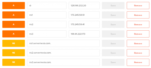 DigitalOcean DNS Manager Vanity Nameservers