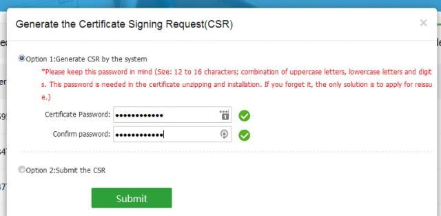 WoSign Generate the Certicate Signing Request