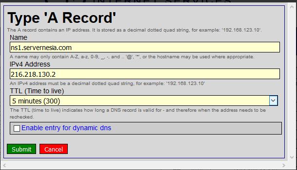 Hurricane Electric DNS Add A Record - Membuat Custom Nameserver pada Hurricane Electric